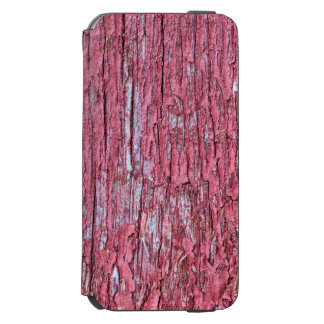 Bright red board wall with small mold growing iPhone 6/6s wallet case