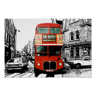 Bright Red Bus in London Print