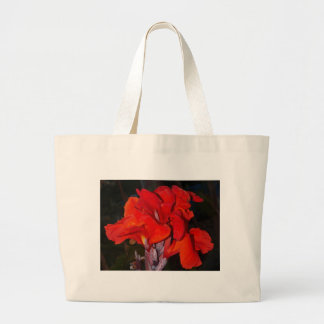 Bright red canna lily canvas bags