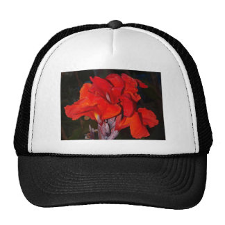 Bright red canna lily mesh hats
