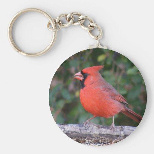 Bright Red Cardinal Basic Round Button Keychain