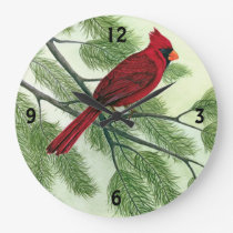 Bright Red Cardinal - Clock