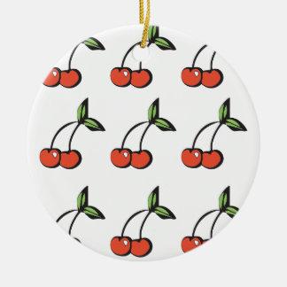 Bright Red Cherries w/ Green Leaves Pattern Ceramic Ornament