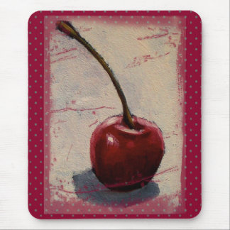 Bright Red Cherry: Original Painting Mouse Pad