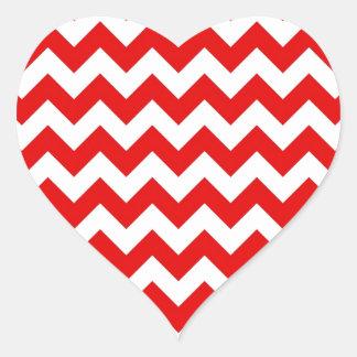 Bright Red Chevron Zig-Zag Pattern Heart Sticker