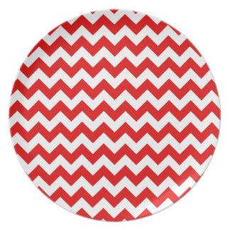 Bright Red Chevron Zig-Zag Pattern Melamine Plate