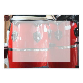 Bright red conga drums photo.jpg 5x7 paper invitation card