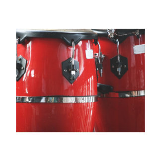 Bright red conga drums photo.jpg stretched canvas print