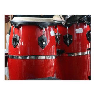 Bright red conga drums photo.jpg postcard