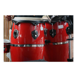 Bright red conga drums photo.jpg posters