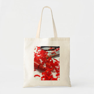 Bright red crayon and scissors tote bag