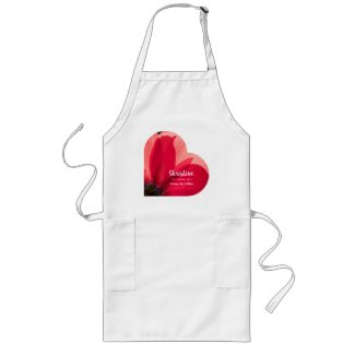 Bright Red Dahlia Apron Filled with Love