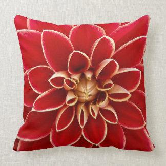 Bright Red Dahlia Closeup Throw Pillow