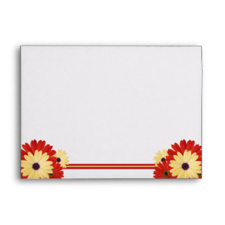 Bright Red Daisy Coordinating Envelopes