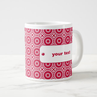 Bright Red Daisy Wheel Pattern Custom Jumbo Mug 20 Oz Large Ceramic Coffee Mug