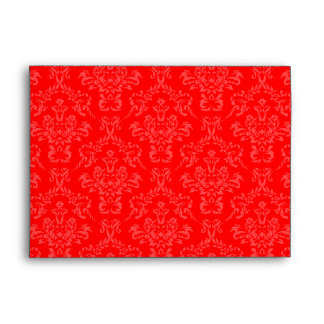 Bright Red Damask A7 Envelopes