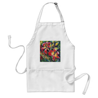 bright red day lilies adult apron
