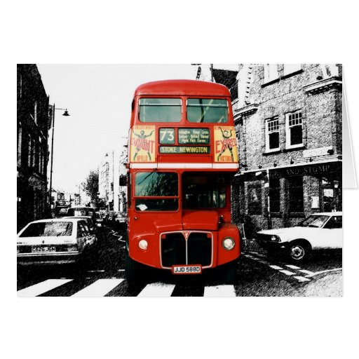 Bright Red Double-decker Bus Card