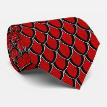 Bright Red Dragon Scale Tie