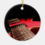 Bright Red Electric Guitar Photo Ceramic Ornament