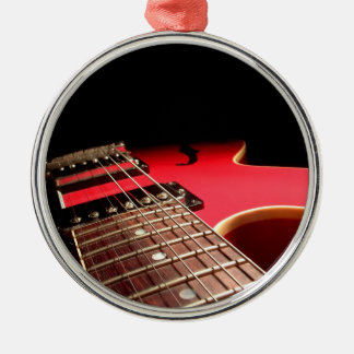 Bright Red Electric Guitar Photo Metal Ornament