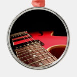 Bright Red Electric Guitar Photo Christmas Tree Ornament