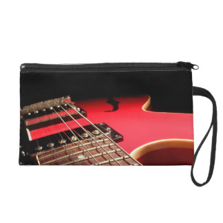 Bright Red Electric Guitar Photo Wristlet Purse