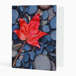 Bright Red Fall Leaf Mini Binder