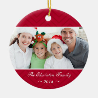 Bright Red Family Custom Photo Christmas Ornament