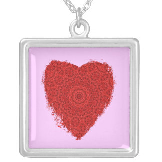 Bright red fancy heart on pink square pendant necklace