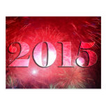 Bright Red Fireworks 2015 New Year Postcard