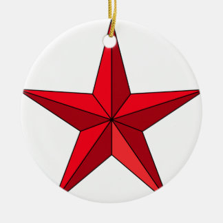 Bright Red Five-Pointed Star Ceramic Ornament