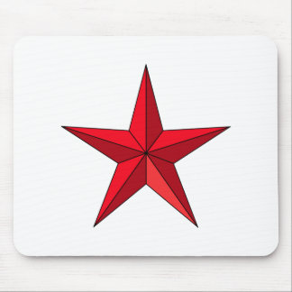 Bright Red Five-Pointed Star Mouse Pad