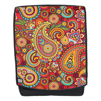 Bright Red Floral paisley bohemian pattern Backpack