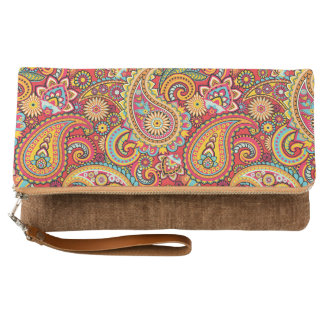 Bright Red Floral paisley bohemian pattern Clutch