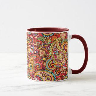 Bright Red Floral paisley bohemian pattern Mug