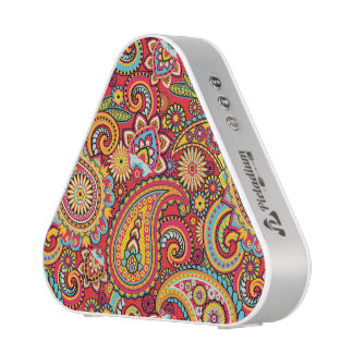 Bright Red Floral paisley bohemian pattern Speaker