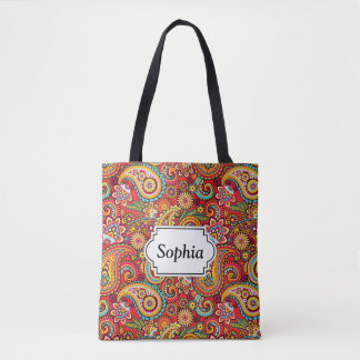 Bright Red Floral paisley bohemian pattern Tote Bag
