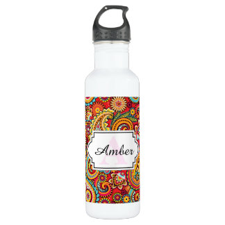 Bright Red Floral paisley bohemian pattern Water Bottle