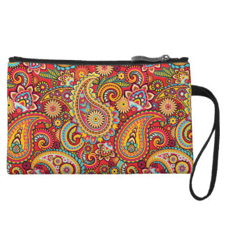 Bright Red Floral paisley bohemian pattern Wristlet
