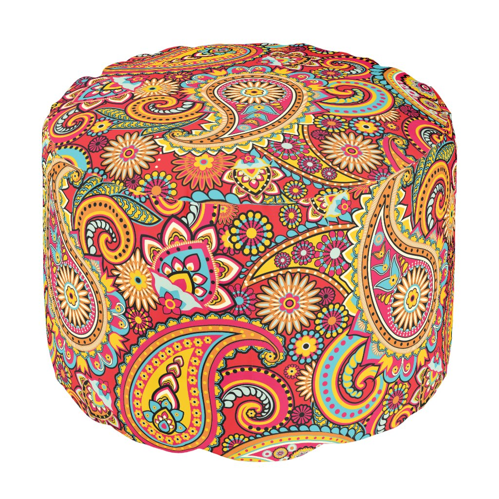 Bright Red Floral paisley seamless pattern Pouf