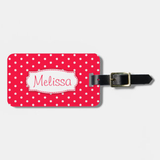 Bright red flower polka dots named luggage tag