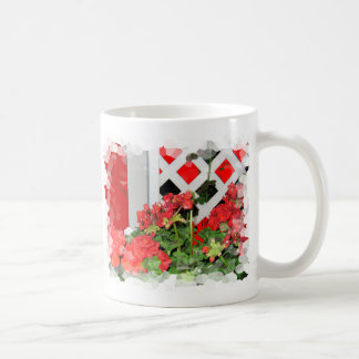 Bright red Flowers and Lattice floral nature photo Coffee Mug