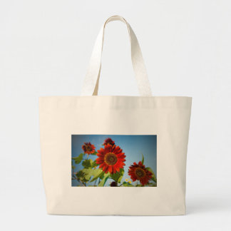 Bright Red Flowers in the Sun Large Tote Bag