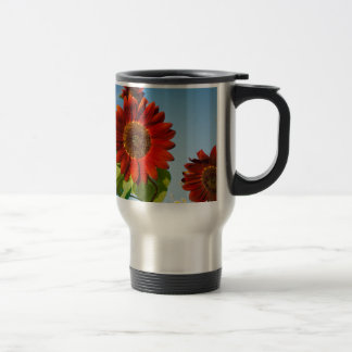 Bright Red Flowers in the Sun Travel Mug