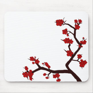 Bright red flowers mouse pad