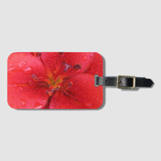 Bright Red Garden Lily Flower Detail Bag Tag