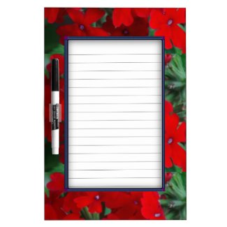 Bright Red Geraniums Dry Erase White Board