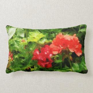 Bright Red Geraniums Lumbar Pillow