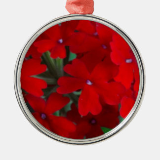 Bright Red Geraniums Metal Ornament